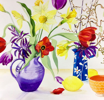 'Spring Zing' Watercolour framed in white £350