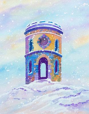 It's snowing! Solomon's Temple, Original watercolour £250