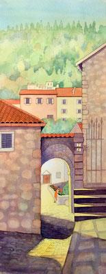 'Tending the Marigolds, Tuscany' Watercolour 79cm x 42cm £250