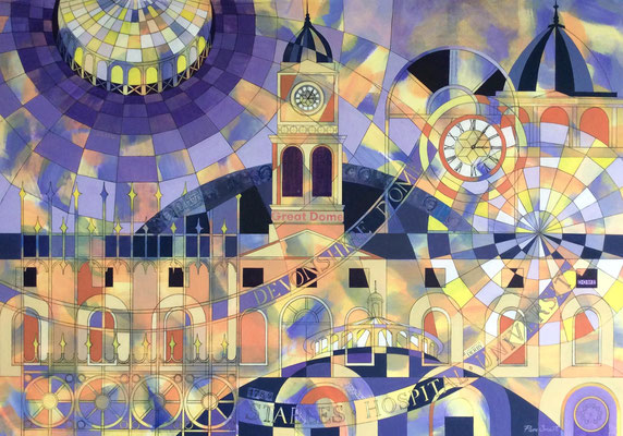 'Designs On The Dome' Acrylic framed 100cm x 77cm SOLD