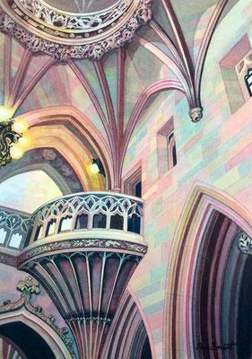'The John Rylands Library' Watercolour framed in white £450