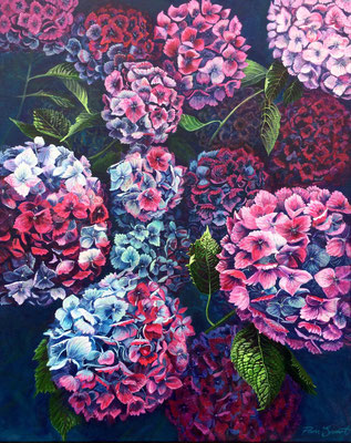 'Magnificent Blooms' Acrylic framed in white £750