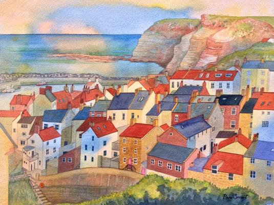Golden Days in Staithes, Original watercolour, SOLD