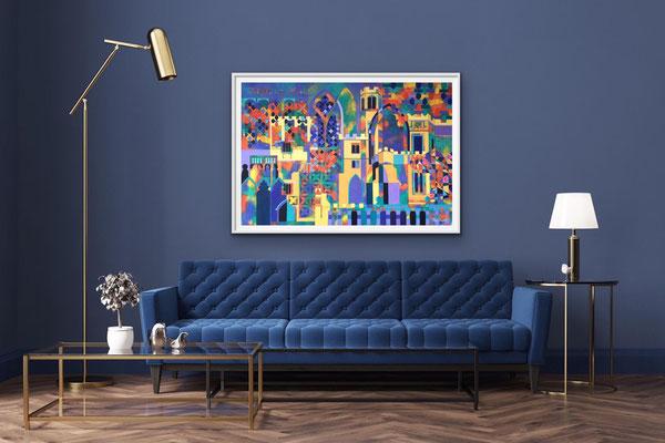 'Haddon Harlequin' Acrylic framed 97cm x 73cm NFS