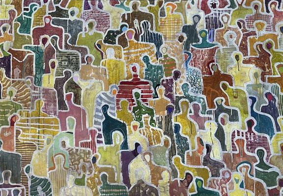 J+ Tous ensemble 44''x64'' - Acrylic on Canvas