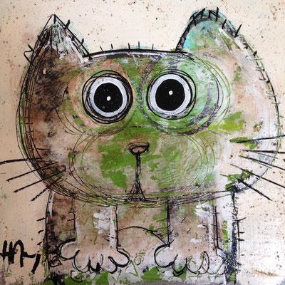 Chat vert 8''x8'' on kraft paper