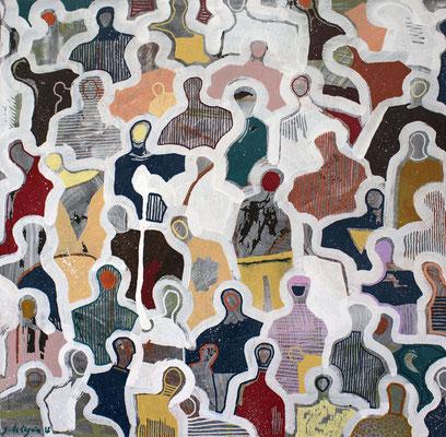 J+1021 - 20''x20'' - Mixed Media on canvas