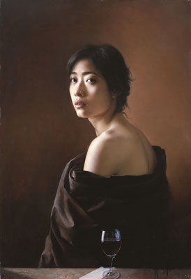 Nengjun Wang - Expression in my wife's eyes - oil on linen - 90x60