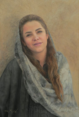 Negar Nesari (Irán) - Portrait of a girl - Oil on canvas - 40x60