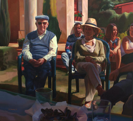 Eduardo Alsasua - Almuerzo en el jardín - Óleo sobre lienzo - 89x97