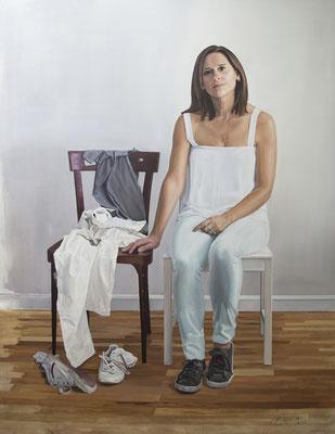 Juan Luis Alcalde (España) -Retrato con el ausente. María - Óleo sobre lino - 146x114