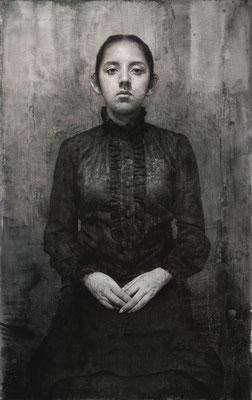 Marcos Rey - Ariane y el mundo - Carbón, grafito, tinta y aguada sobre lienzo - 100x63