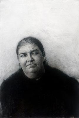 Marcos Rey (España) -Retrato de una gorda - Corboncillo, tinta y aguada sobre lienzo - 67x99