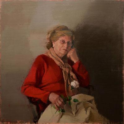 Juan José Martin (España) - Rosa con rosa blanca - Óleo sobre tabla - 100x100