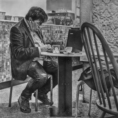 Roberto Carrillo - Maneras de estar solo - Grafito, lápiz de color, y acrílico sobre tabla - 100x100