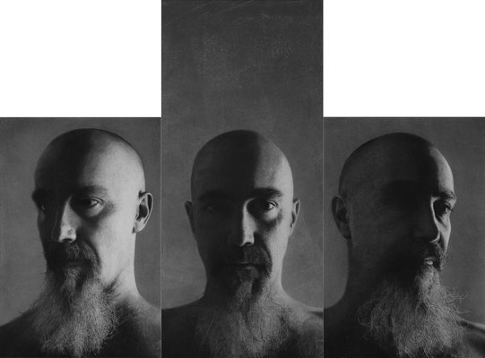 Marco Condrò - Three-faced Janus - Graphite, charcoal and white ink on layers of Japanese papar glued on board - 55x75