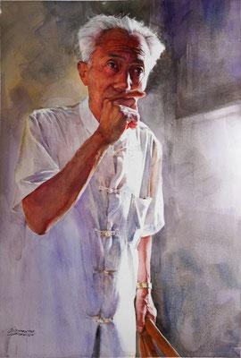 Yan Liang - Portrait of storyteller Ji Hongkuan - Watercolor on paper - 70x56