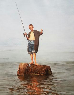 Ajim Sulaj (Italia) - El pescador - Óleo sobre lienzo - 70x90