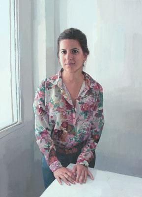 Antonio Lara - Mujer en la ventana - Óleo sobre lienzo - 100x73