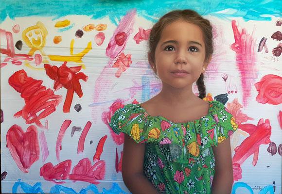 "Laura Cameo Moliner - ""Seré, mamá pintora "" - Pastel sobre papel - 100x70"