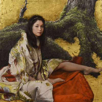 Katsu Nakajima (Japón) - Woman in the forest - Oil and Gold Leaf - 91x91