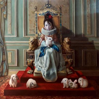 Olga Esther (España) - De princesas y sapos encantados - Óleo sobre tabla - 120x120