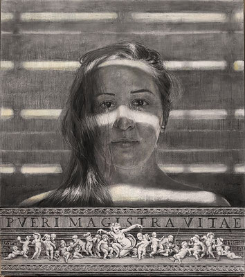 JM Bernardo Bueno - PUERI MAGISTRA VITAE - DIBUJO grafito papel - 105x120