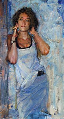Evgeniy Monakhov (Rusia) - Música en mi cabeza. Escuchando (retrato de Lia Schell) - 120x65