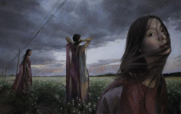 Vicente Romero (España) - El viento del Emportá sobre Hu Ji Nü - Pastel sobre papel - 130x81