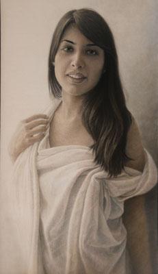 Josefa Medina López - Menos es más - grafito sobre papel tratado con veladuras al óleo - 100x55