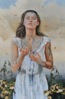 Lesley Thiel - The Anointing - Oil on panel - 61x91