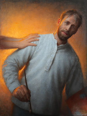 Conor Walton (Irlanda) - Self-Portrait learning - Oil on linen - 91x68