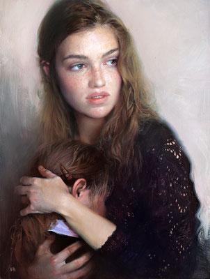 Evgeniy Monahov - Little Mother - Oil an tempera on wooden board - 53x40