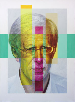 Carlos Saura Riaza - The many colors of Jonathan (Portrait of Jonathan Harvey) - Acrílico sobre lienzo - 81x60