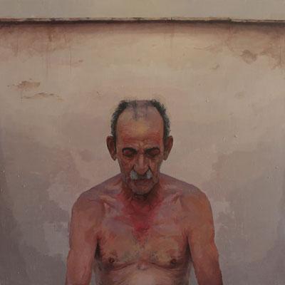 Javier Bañón Hernández - Dionisio (Suegro del pintor) - Óleo sobre tabla - 80x80