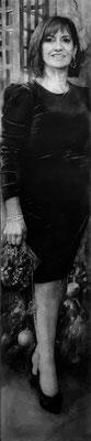 Isabel Avila Rubio - Autorretrato - Grafito y carbón sobre papel encolado a tabla - 160x31