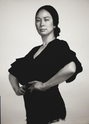 Christienne Cuevas -  La Filipina (Retrato de la Artista) - Graphite, carbon and ink on paper - 50x70