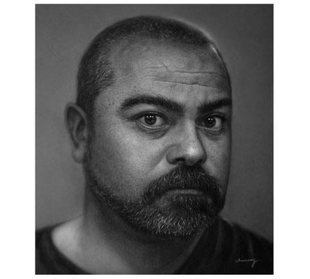 Gerardo Monroy Vergara - El cuenta cuentos - Carboncillo sobre papel - 63x50