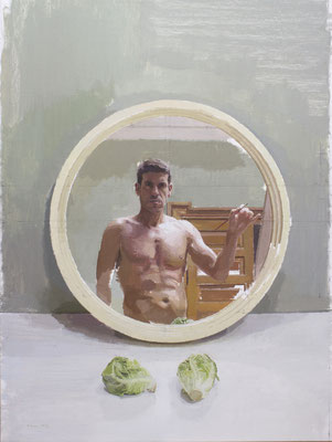Eduardo J. Millán Sañudo - Autorretrato con cogollos - Óleo sobre lino - 97x73