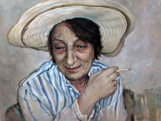 Sylvia Stratieva - Helen with a hat - Oil on canvas - 60x80