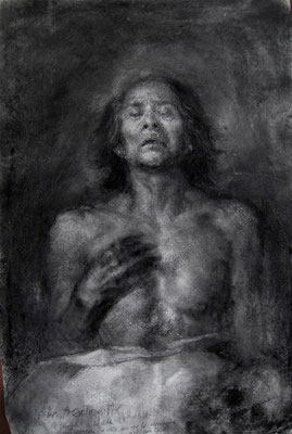 Victor Zaldivar - Me.Fighting Cancer {Selfportrait}] - Charcoal in paper - 72x102