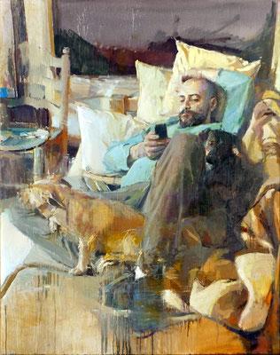 Alberto David fernández - Retrato de un pintor en su estudio - Óleo sobre tabla - 148x122