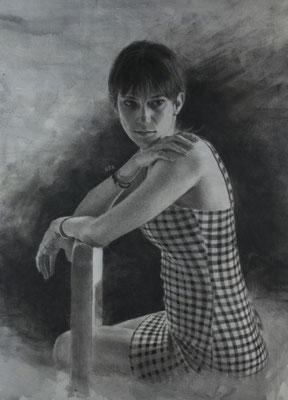 Roberto L. Zuñet - Giselle ensimismada - Carboncillo, grafito, PanPastel y Acrílico sobre papel - 64x46
