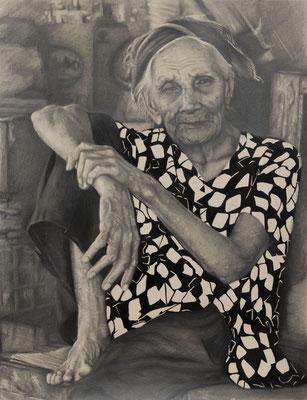 "Mariana Inés Rauscher - De la serie ""Asia"" - Grafito y óleo sobre papel Canson mi teintes - 65x50"