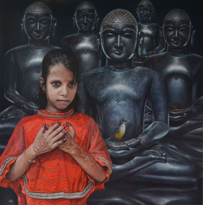 Raquel di Carvalho - Liberación del alma - Óleo sobre lienzo - 100x100