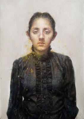Marcos Rey - Camisa negra - Óleo sobre lienzo - 100x67