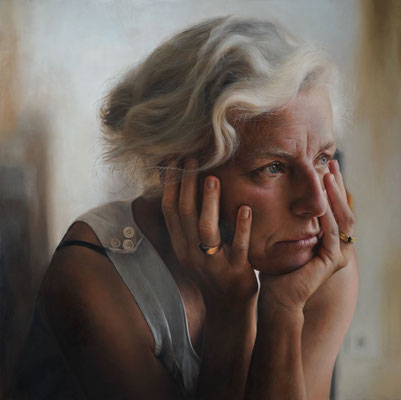 Anne-Christine Roda - Pauline - Óleo sobre tabla - 80x80