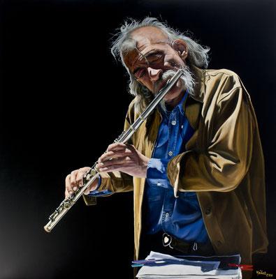 Oscar Yañez (México) - El flautista - Óleo sobre lienzo - 100x100