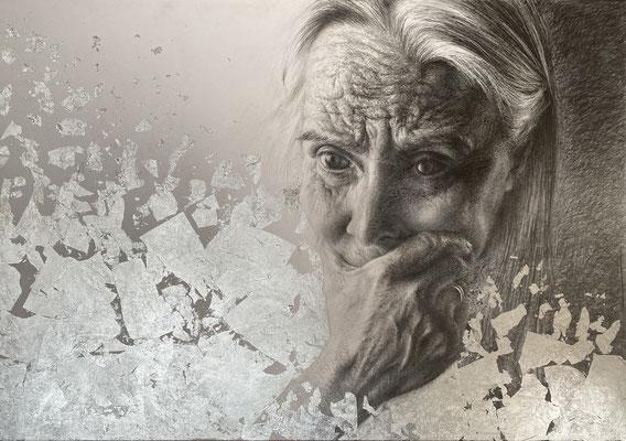 Tere Unsain Romero - Veremos - Grafito sobre papel y fondo pan de plata - 100x70