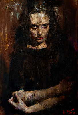 Anatoly Shumkin (Rusia) - Dark-eyed sister - Óleo sobre lienzo - 75x50
